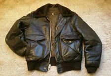 Genuine Vintage Schott NYC Brown Leather Bomber Flight Jacket Coat. Mens 42.
