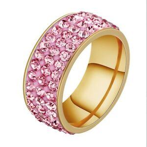 Unisex CZ Stainless Steel Ring Men/Women's Wedding Band Rings Gold Silver Sz8-10
