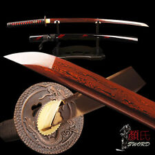 Real Sharp Bloody Red Blade Samurai Katana Folded Steel Japanese Sword Full Tang