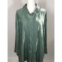 Soft Surroundings 1X Velvet Shirt Tunic Length Green Long Sleeve Rayon Silk