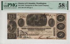 1840 $10 CHESAPEAKE & OHIO CANAL COMPANY OBSOLETE WASHINGTON DC PMG AU 58 EPQ