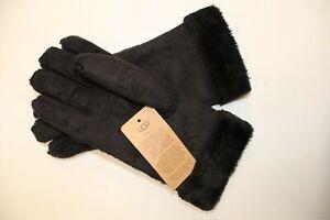 Ladies UGG AUSTRALIA Black Suede Turn Cuff Gloves BOXED Size UK S/M CA6