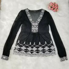 Zara Black Mesh Top White Embroidery Long Sleeve Women's Size Large