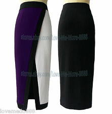 Womens Front Thigh High Slit Split slim Pencil WEAR Work Skirt Dress PURPLE 2XL