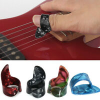 3 Finger Picks + 1 Thumb Pick Plectrums Guitar Plastic Random Color FT