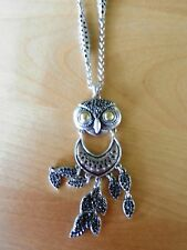 Lucky Brand Silvertone Owl Pendantt Necklace MSRP $39