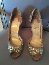 Christian Louboutin Peep Toe Heels Size 39 with Swarovski crystals