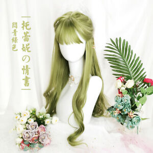 Japanese Cosplay Stuffy Green Long Curly Hair Harajuku Lolita Sweet Daily Wigs