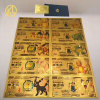 10  Cartes Billets Pokemon Evoli Dracaufeu Pikachu Squirtle Gold Card / Banknote