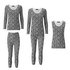 Ladies Lace Print Thermal Cotton Vest Ski Wear Black/White