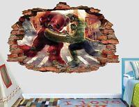 Avengers Hulk Fight Iron Man Smashed Wall Decal Marvel Sticker 3D Vinyl AH424