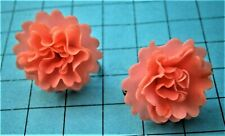G991*) Vintage pink early plastic 3D flower silver tone screw back Earrings