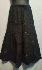 Wmmen's Long elastic waist Skirt with pull string 100% cotton Black Free Size