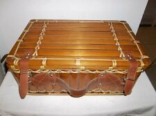 Bamboo Rattan Leather Picnic Basket Suitcase Lined Tiki