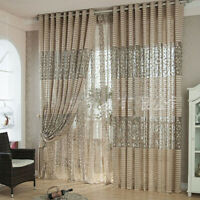 Stylish Tulle Door Window Floral Curtain Drape Panel Voile Valances Scarf Sheer