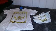 Adidas nmd R1 custom deadstock size 11 and mens adidas trefoil logo shirt large