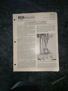 "ORIGINAL Delta Rockwell  976 Mortising Attachment 14"" 11"" Homecraft Drill MANUAL"