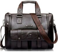 Briefcase for Men Leather Travel Carry On Vintage Shoulder Bag Laptop