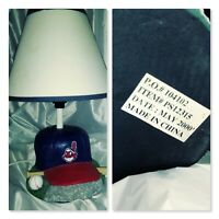 Sportcast MLB 2000 Cleveland Indians Baseball Lamp Chief Wahoo Hat Base
