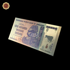 WR $ 100 billones de dólares Zimbabwe colección de billetes de oro coloreados