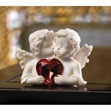 New listing Cherub Two In Love Figurine Angel Statue White Red Crystal Heart Valentines Gift