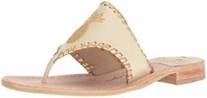 Jack Rogers Women's Pineapple Dress Sandal, Bone/Gold, Size 7.0 8oGv