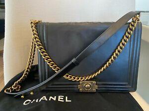 AUTHENTIC  Chanel Boy Black Leather Handbag  Shoulder Bag with Gold Hardware
