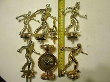 Bowling Pin Ninepins Trophy Award Women Men Gold Colored