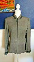 Albert Nipon 100% Wool Tweed Boucle Career Suit Jacket Blazer Gray Sz 10