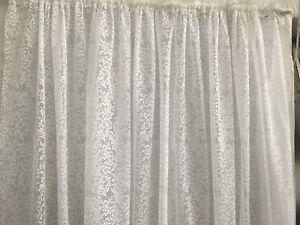 Nadine  Lace Curtain Fabric 213 cm drop -WHITE ROD POCKET-buy per metre -QUALITY