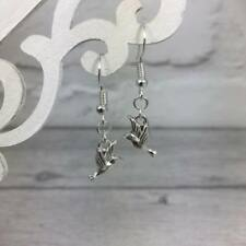 925 Sterling SILVER Small HUMMINGBIRD Bird EARRINGS Drop Dangle Hook Nature GIFT