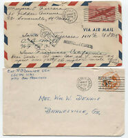 1945 and 1948 WWII  US navy covers, 1 with auxiliaries [S.140]