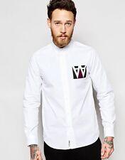 """Camisa de Madera de Madera en Caja Regular Fit con AA Impresión en Blanco XL-pecho 42"""" -44"""" pulgadas"""