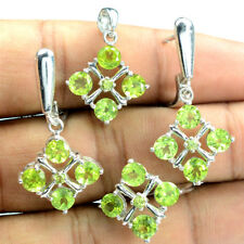5mm Round Cut Natural Green Peridot 925 Solid Silver Earring Pendant Ring Set