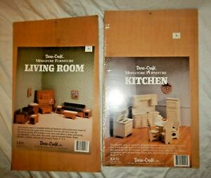 Lot 2 DURA-CRAFT Wooden Miniature Dollhouse Furniture Kitchen And Living Room