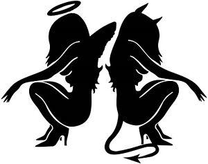 fun sexy devil angel girls vinyl car bonnet sticker rear window side graphic art