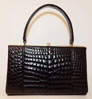 Vintage Genuine Black Crocodile Handbag Satchel