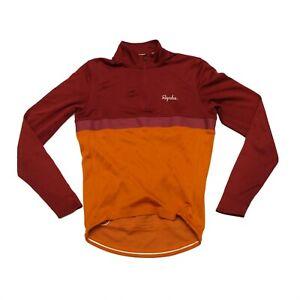 Rapha Long Sleeve Club Cycling Jersey DEFECTS Merino Men's Orange/Bordo, Size L,
