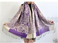 New Women's Vintage 100% Cashmere Pashmina Soft Warm Flower Wrap Shawl Scarf