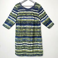 PER UNA (UK Size 16) Satin Tunic Dress - Navy Blue Green Embellished Tribal