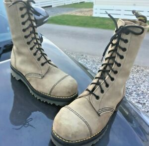 Dr Martens beige suede leather boots UK 7 EU 41 steel Made in England