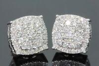 Mens Women's 14K White Gold Over 1.50Carat D/VVS1 Diamond Cluster Stud Earrings