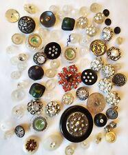 Lot 75-Vintage Buttons-Bakelite/Rhinestones/Glass/Brass/Mother of Pearl/Metal