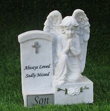 MEMORIAL ANGEL PRAYING BY HEADSTONE SON GRAVE OR CEMETERY ORNAMENT
