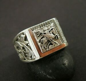 Sterling silver signet sing - Archangel Michael - Christian protection ring