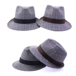 XL 62Cm Unisex Mens Cotton Glen Check Fedora Trilby Soft Hamburg Bowler Hats