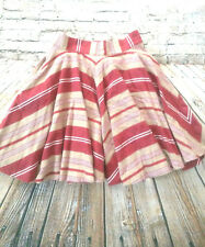 ZARA Woman Flare Mini Skirt Size XS Womens Juniors Red Tan White Striped Short
