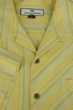 Tommy Bahama Men's Gold & Gray Striped Silk Camp Hawaiian Shirt M Medium