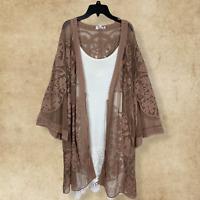 Plus Size UMGEE Boho Floral Crochet Gypsy Mocha Kimono Cardigan Hippie Duster