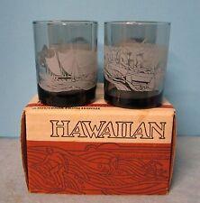 McDonald's HAWAIIAN Glasses Set of 4 Tiki Bar Low Ball Rock Glasses 4 Pc